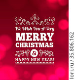 Vintage Merry Christmas Background, Wood Texture, Vector illustration. Стоковое фото, фотограф Zoonar.com/Maxim Pavlov / age Fotostock / Фотобанк Лори
