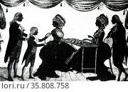 Engraving depicts Jane Austen's father introducing one of his children to friends. Редакционное фото, агентство World History Archive / Фотобанк Лори