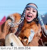 Woman in national clothing indigenous inhabitants Kamchatka dancing... Стоковое фото, фотограф Zoonar.com/Alexander A. Piragis / age Fotostock / Фотобанк Лори