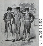 Illustration of a trio of Bullfighting Toreros. Редакционное фото, агентство World History Archive / Фотобанк Лори
