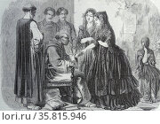Engraving depicting a visit by Father Zea to the Convent in Lima. Редакционное фото, агентство World History Archive / Фотобанк Лори