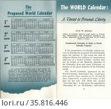 The World Calendar devised by Elisabeth Achelis in 1930. Редакционное фото, агентство World History Archive / Фотобанк Лори