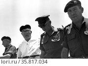 General Haim bar Lev, Prime Minister Levi Eshkol; Chief of staff General Yitzhak Rabin and Major General Israel tal. Редакционное фото, агентство World History Archive / Фотобанк Лори