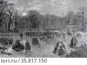 Engraving titled 'Skating of the Serpentine by Torchlight' Редакционное фото, агентство World History Archive / Фотобанк Лори