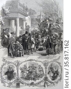 Engraving depicting Christmas Eve traditions. Редакционное фото, агентство World History Archive / Фотобанк Лори