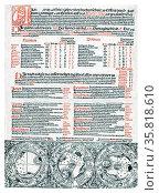Page from Almanach in der hochebreysten Hochen Schule zu Erffort... auff das M.CCCC.XCIIII Iar gecalculyret. Редакционное фото, агентство World History Archive / Фотобанк Лори