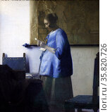 Woman Reading a Letter by Johannes Vermeer (1632-1675). Oil on canvas c.1663-64. Редакционное фото, агентство World History Archive / Фотобанк Лори