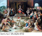 Allegory on the Abdication of Emperor Charles V in Brussels. Frans Francken II (1581-1642) oil on panel, (c 1630-1640) Charles V is enthroned at centre. Редакционное фото, агентство World History Archive / Фотобанк Лори