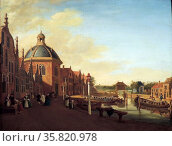 The Docking Basin in the Barge Canal in Leidschendam by Paulus Constantijn la Fargue (1729-1782) oil on panel, 1756. Редакционное фото, агентство World History Archive / Фотобанк Лори