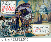 Cover of program for the National American Women's Suffrage Association procession. Редакционное фото, агентство World History Archive / Фотобанк Лори