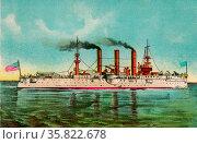 Portait of US Naval Battle Cruiser ' Brooklyn' 1898. Редакционное фото, агентство World History Archive / Фотобанк Лори