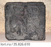 Stone Block with Confronting Eagle and Jaguar 1300 A.D. Aztec. Редакционное фото, агентство World History Archive / Фотобанк Лори