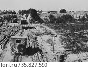 Enemy air equipment took a heavy pounding from bombers of the United States Army Air forces as they pursued Marshal Erwin Rommel's retreating Africa Corps through Libya 1942, World War Two. Редакционное фото, агентство World History Archive / Фотобанк Лори