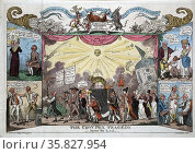 The cowpox tragedy - scene the last by George Cruikshank, 1792-1878, artist 1812. Редакционное фото, агентство World History Archive / Фотобанк Лори