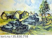Postcard showing a German army panzer tank corps moving through Poland. Редакционное фото, агентство World History Archive / Фотобанк Лори