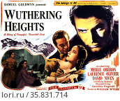 Wuthering Heights' starring Merle Oberon, Laurence Olivier and David Niven a 1939 American black-and-white film. Редакционное фото, агентство World History Archive / Фотобанк Лори