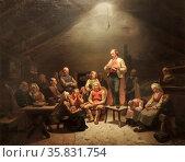 Low Church Devotion, 1848 by Adolph Tidemand (1814-1876), Oil on canvas. Редакционное фото, агентство World History Archive / Фотобанк Лори
