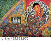 Mario A Parial, Reclining Woman, 1994, Acrylic on canvas. Редакционное фото, агентство World History Archive / Фотобанк Лори
