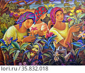 Pat Reyes, Women Plant Vendors, 1994. Oil on canvas. Редакционное фото, агентство World History Archive / Фотобанк Лори