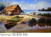 Hut by the Sea by Joselito Dayono. Редакционное фото, агентство World History Archive / Фотобанк Лори