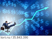 Businessman in economic growth concept. Стоковое фото, фотограф Elnur / Фотобанк Лори