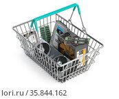 Computer hardware shopping basket. Buying pc computer parts online concept. Стоковое фото, фотограф Maksym Yemelyanov / Фотобанк Лори