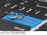 Hacker attack. Handcuff on keyboard. 3D illustration. Стоковая иллюстрация, иллюстратор Ильин Сергей / Фотобанк Лори