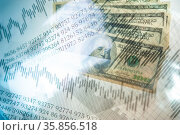 Double exposure Stock market display or forex trading graph and candlestick... Стоковое фото, фотограф Zoonar.com/BASHTA / easy Fotostock / Фотобанк Лори