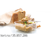 homemade meat pate with bread on a wooden table. Стоковое фото, фотограф Peredniankina / Фотобанк Лори