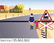 Rules of road. Unregulated railway crossing. Стоковая иллюстрация, иллюстратор Валентина Шибеко / Фотобанк Лори