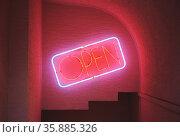 Open neon sign. Стоковое фото, агентство Ingram Publishing / Фотобанк Лори