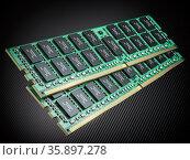 DDR ram computer memory modules on black background. Стоковое фото, фотограф Maksym Yemelyanov / Фотобанк Лори