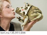 Woman kissing frog. Стоковое фото, фотограф Shannon Fagan / Ingram Publishing / Фотобанк Лори