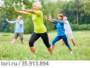 Senioren im Wellness Kurs machen Qi Gong oder Tai Chi Übung für die... Стоковое фото, фотограф Zoonar.com/Robert Kneschke / age Fotostock / Фотобанк Лори