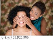Woman covering friends eyes. Стоковое фото, фотограф Shannon Fagan / Ingram Publishing / Фотобанк Лори
