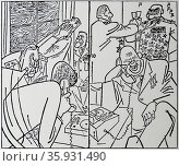 The HOT LINE between the President of the USA and the Premier of the USSR was designed to allow direct communication at a moment's notice. At its inauguration on 31 August 1963, it was hailed as a major telecommunications achievement. This cartoon by Professor H.E.Kohler and published in Frankfurter Allgemeine Zeitung is typical of contemporary press comment. KENNEDY is asking Khrushchev to halt the Soviet advance because the US cannot get their forces across the Atlantic because of fog.Khrushchev is saying certainly, but in the meantime we'll bomb your airfields in Germany. Редакционное фото, агентство World History Archive / Фотобанк Лори