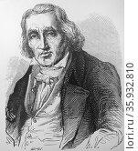 Joseph-Marie JACQUARD - 1752-1834 from Louis Figuier Lee Grandes Inventions , Paris, 1863. Редакционное фото, агентство World History Archive / Фотобанк Лори