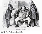 A difference of opinion among the physicians. DISRAELI, the Prime Minister, takes John Bull's pulse, while GLADSTONE, leader of the Liberal opposition, feels that his treatment would be far more beneficial. Редакционное фото, агентство World History Archive / Фотобанк Лори