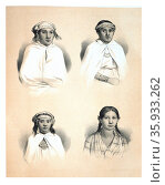 Illustration of natives in Chile from the Pacific Region from Voyage au pole sud et dans l'Oceanie. Редакционное фото, агентство World History Archive / Фотобанк Лори