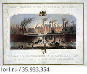 John Martin & Co., Sheffield, England. File and Steel manufacturers and exporters of iron. W. Bailey Lang & Co. sole agents for America, J.H. Bufford's Lith., Boston, Mass. Редакционное фото, агентство World History Archive / Фотобанк Лори