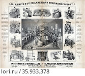 women and men working and various machines used to make books. Редакционное фото, агентство World History Archive / Фотобанк Лори