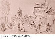 Sketch depicting Mayor Plaza in the Colonial Lima by Johann Moritz Rugendas. Редакционное фото, агентство World History Archive / Фотобанк Лори