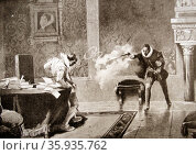 Engraving depicting the Murder of the Count of Orange, the former vassal of Carlos V. Редакционное фото, агентство World History Archive / Фотобанк Лори
