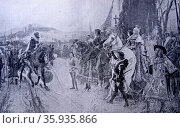 Engraving depicting the conquest of the last Moorish Kingdom in Spain. Редакционное фото, агентство World History Archive / Фотобанк Лори