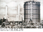 Battersea Power Station and Gas Holder, London 1935. Редакционное фото, агентство World History Archive / Фотобанк Лори
