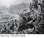Engraving depicting the descent of the Danes on the coast of Northumberland. Редакционное фото, агентство World History Archive / Фотобанк Лори
