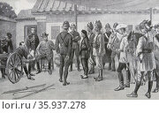 Engraving depicting an incident during the Boxer rising. Редакционное фото, агентство World History Archive / Фотобанк Лори
