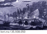 Malay pirates attack in formation; 18th Century. Редакционное фото, агентство World History Archive / Фотобанк Лори