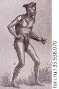 19th century illustration of cannibal native of Borneo 1850. Редакционное фото, агентство World History Archive / Фотобанк Лори