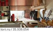 View of modern interior of kitchen at a food truck. Стоковое видео, агентство Wavebreak Media / Фотобанк Лори